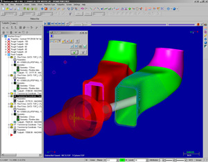 CNC Porting software, Mastercam X2 screen shot showing CNC intake ports.