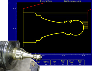 CNC Lathe conversational programming software: INTERCON for lathes creates the G codes for you. Graph as you go.