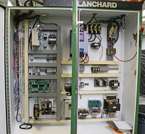 Original Blanchard CNC electrical cabinet retrofitted with new electronics.