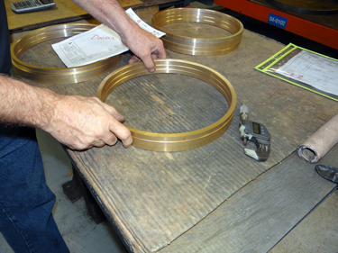 Brass Rings being ground to size