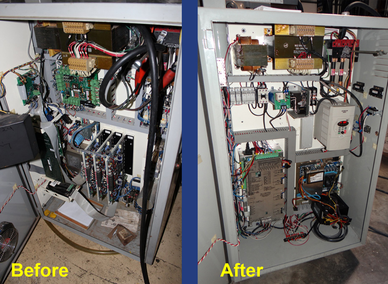 Bridgeport CNC electrical cabinet before and after CNC upgrade