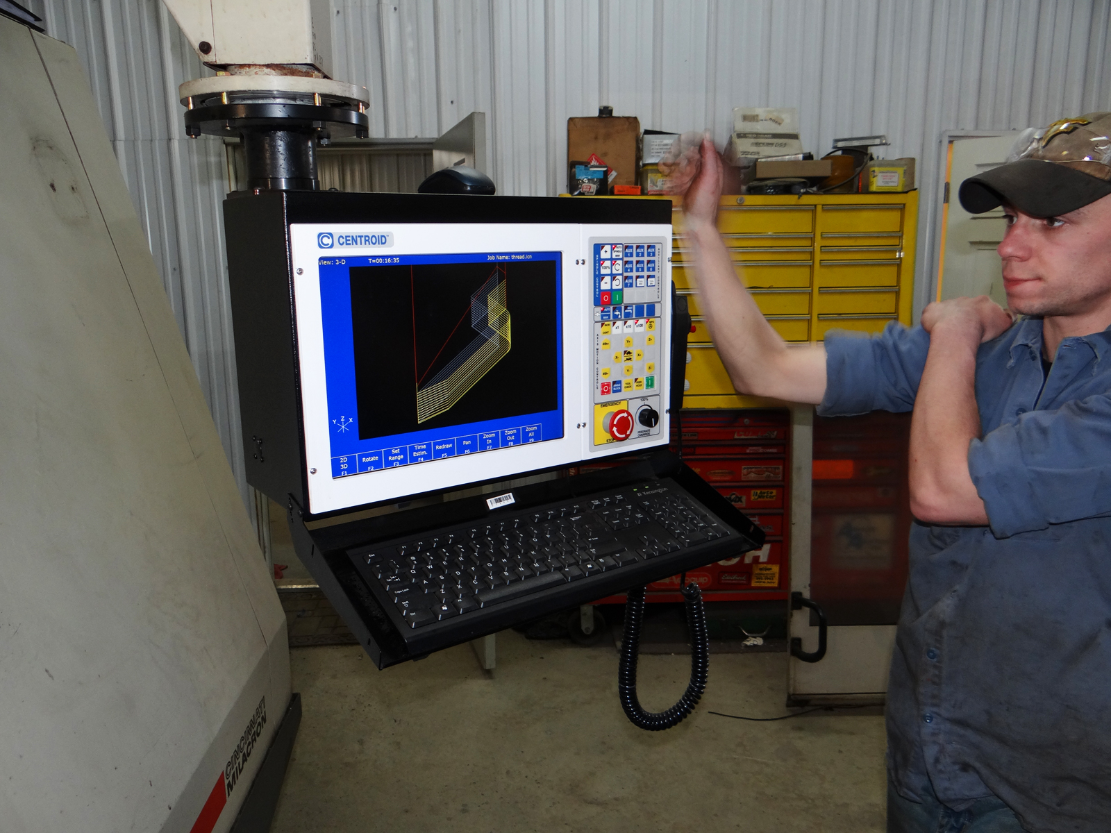 With some CNC experience with other controls and no training on the  Centroid, Greg Smith and his operator were able to setup the tools and  program parts ...