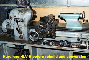 Hardinge HLV-H manual lathe before retrofit